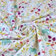 "Tissu jersey coton motif animaux ""Jinjua"" - Blanc et multicolore - Oeko-Tex ® Domotex - 3"