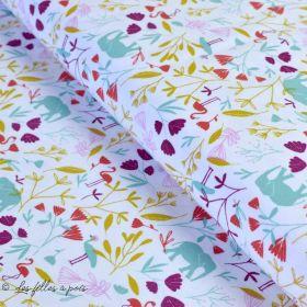 "Tissu jersey coton motif animaux ""Jinjua"" - Blanc et multicolore - Oeko-Tex ® Domotex - 1"