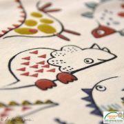 """Tissu jersey coton motif dinosaure """"Dinoz"""" - Ecru et multicolore - Oeko-Tex ® Domotex - 2"""