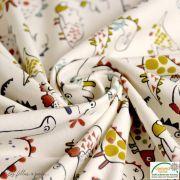 """Tissu jersey coton motif dinosaure """"Dinoz"""" - Ecru et multicolore - Oeko-Tex ® Domotex - 6"""