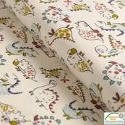 """Tissu jersey coton motif dinosaure """"Dinoz"""" - Ecru et multicolore - Oeko-Tex ®"""
