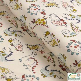"Tissu jersey coton motif dinosaure ""Dinoz"" - Ecru et multicolore - Oeko-Tex ® Domotex ® - Tissus Oekotex et BIO - 1"