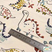"""Tissu jersey coton motif dinosaure """"Dinoz"""" - Ecru et multicolore - Oeko-Tex ® Domotex - 10"""