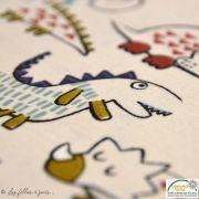 """Tissu jersey coton motif dinosaure """"Dinoz"""" - Ecru et multicolore - Oeko-Tex ® Domotex - 4"""