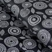 Tissu enduit ou laminé motif fleurs - Noir et blanc - BIO - Cloud 9 ®