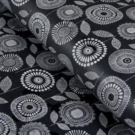 Tissu enduit ou laminé motif fleurs - Noir et blanc - BIO - Cloud 9 ® Cloud9 Fabrics - 1