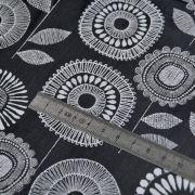 Tissu enduit ou laminé motif fleurs - Noir et blanc - BIO - Cloud 9 ® Cloud9 Fabrics ® - Tissus BIO - 6