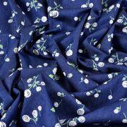 "Tissu coton denim motif fleurs ""Denim Prints"" - Bleu jean - Oekotex ® - AGF ® Art Gallery Fabrics ® - 3"