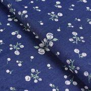 "Tissu coton denim motif fleurs ""Denim Prints"" - Bleu jean - Oekotex ® - AGF ®"