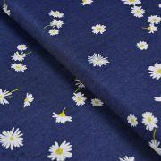 "Tissu coton denim motif fleurs ""Denim Prints"" - Bleu jean - Oekotex ® - AGF ® Art Gallery Fabrics ® - 1"
