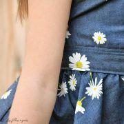 "Tissu coton denim motif fleurs ""Denim Prints"" - Bleu jean - Oekotex ® - AGF ® Art Gallery Fabrics ® - 6"