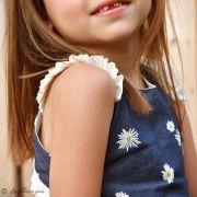 "Tissu coton denim motif fleurs ""Denim Prints"" - Bleu jean - Oekotex ® - AGF ® Art Gallery Fabrics ® - 8"