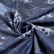 "Tissu coton denim motif losange ""Denim Prints"" - Bleu jean - Oekotex ® - AGF ® Art Gallery Fabrics ® - 4"