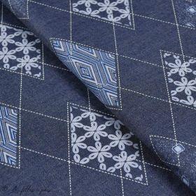 "Tissu coton denim motif losange ""Denim Prints"" - Bleu jean - Oekotex ® - AGF ® Art Gallery Fabrics ® - 1"
