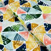 Tissu coton satinette aquarelle graphique - Multicolore - Bio - CLOUD9 ®