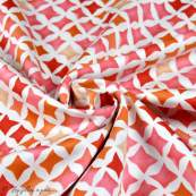 Tissu coton satinette aquarelle graphique  - Rouge - Bio - CLOUD9 ® Cloud9 Fabrics ® - Tissus BIO - 4