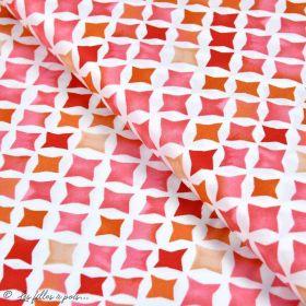 Tissu coton satinette aquarelle graphique - Rouge - Bio - CLOUD9 ® Cloud9 Fabrics ® - Tissus BIO - 1
