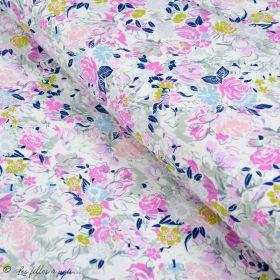 """Tissu jersey motif fleurs """"Fusion Etheral"""" - Bleu - Oekotex - AGF ® Art Gallery Fabrics ® - 1"""