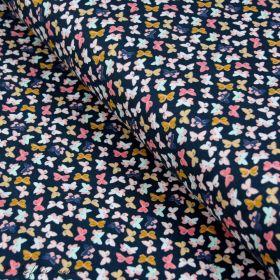 """Tissu jersey motif papillon """"Nightfall"""" de Maureen Cracknell - Bleu noir et multicolore - Oekotex - AGF ® Art Gallery Fabrics ®"""