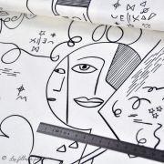 """Tissu jersey motif dessin esprit Picasso """"Ethno"""" - Ecru et noir - Oekotex - AGF ® Art Gallery Fabrics ® - Tissus - 5"""
