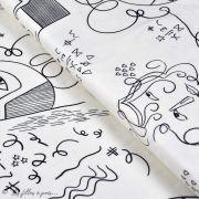 """Tissu jersey motif dessin esprit Picasso """"Ethno"""" - Ecru et noir - Oekotex - AGF ®"""