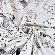 """Tissu jersey motif dessin esprit Picasso """"Ethno"""" - Ecru et noir - Oekotex - AGF ® Art Gallery Fabrics ® - Tissus - 3"""