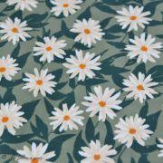 "Tissu jersey motif fleurs ""Her et History"" de Bonnie Christine - Vert et orange - Oekotex - AGF ® Art Gallery Fabrics ® - 2"