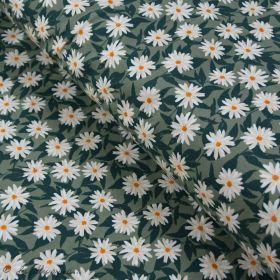 """Tissu jersey motif fleurs """"Her et History"""" de Bonnie Christine - Vert et orange - Oekotex - AGF ® Art Gallery Fabrics ® - Tissus"""