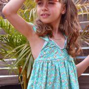 """Tissu jersey motif fleurs """"Wind Melody Carmin"""" - Vert menthe - AGF ® Art Gallery Fabrics ® - 2"""