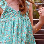 """Tissu jersey motif fleurs """"Wind Melody Carmin"""" - Vert menthe - AGF ® Art Gallery Fabrics ® - 3"""