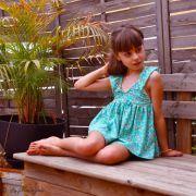 """Tissu jersey motif fleurs """"Wind Melody Carmin"""" - Vert menthe - AGF ® Art Gallery Fabrics ® - 6"""