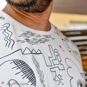 """Tissu jersey motif dessin esprit Picasso """"Ethno"""" - Ecru et noir - Oekotex - AGF ® Art Gallery Fabrics ® - Tissus - 7"""