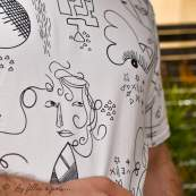 """Tissu jersey motif dessin esprit Picasso """"Ethno"""" - Ecru et noir - Oekotex - AGF ® Art Gallery Fabrics ® - Tissus - 9"""
