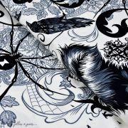 """Tissu coton motif plume et tête de mort """"Haunted House"""" - Blanc et noir - Henry Alexander ® Alexander HENRY Fabrics ® - 1"""