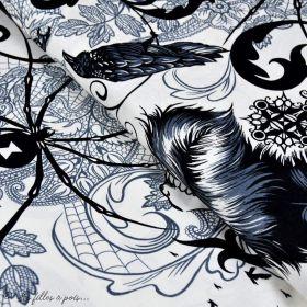 """Tissu coton motif plume et tête de mort """"Haunted House"""" - Blanc et noir - Henry Alexander ® Alexander HENRY Fabrics ® - Tissus"""