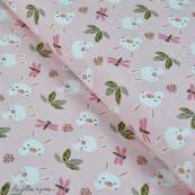 "Tissu jersey coton motif lapin ""Doliali"" - Rose, blanc et vert - Oeko-Tex ®"