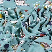 "Tissu jersey coton motif dinosaure ""Dinoz"" - Vert menthe et multicolore - Oeko-Tex ® Domotex ® - 6"