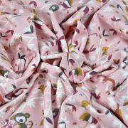 "Tissu jersey coton motif koala ""Safy"" - Rose - Oeko-Tex ® Domotex ® - 6"