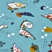 "Tissu jersey coton motif dinosaure ""Dinoz"" - Vert menthe et multicolore - Oeko-Tex ® Domotex ® - 2"