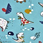 "Tissu jersey coton motif dinosaure ""Dinoz"" - Vert menthe et multicolore - Oeko-Tex ® Domotex ® - 3"