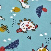 "Tissu jersey coton motif dinosaure ""Dinoz"" - Vert menthe et multicolore - Oeko-Tex ® Domotex ® - 4"