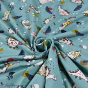 "Tissu jersey coton motif dinosaure ""Dinoz"" - Vert menthe et multicolore - Oeko-Tex ® Domotex ® - 5"