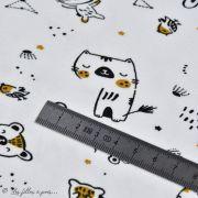 "Tissu jersey coton motif lapin ""Bigao"" - Blanc, noir et doré - Oeko-Tex ® Domotex ® - 8"