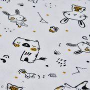 "Tissu jersey coton motif lapin ""Bigao"" - Blanc, noir et doré - Oeko-Tex ® Domotex ® - 5"