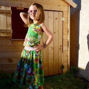 """Tissu jersey coton schtroumpfette """"Smurfette's Garden"""" - Vintage In My Heart - Oeko-Tex ® Vintage In My Heart ® - Tissus BIO - 1"""