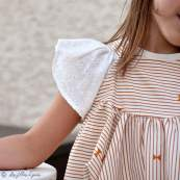 "Tissu coton motif rayures ""Trinkets Fusion"" - Ecru et Ocre - AGF ® Art Gallery Fabrics ® - Tissus - 6"