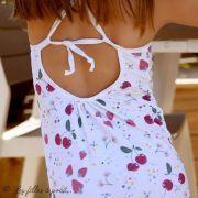 Tissu lycra maillot de bain motif cerise - Blanc, vert et bordeaux - 1