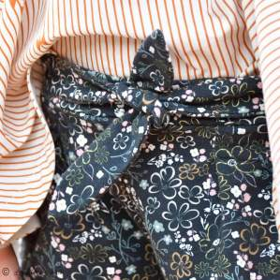 "Tissu jersey motif fleurs ""Fusion Sparkler""  - Bleu marine et ocre - Oekotex - AGF ® Art Gallery Fabrics ® - Tissus - 6"