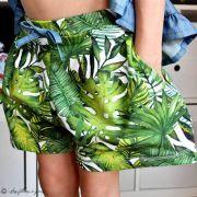 Tissu jersey motif feuille monstera - Blanc et vert - Oeko-Tex ® - Stenzo Textiles ® Stenzo Textiles ® - Tissus Oekotex - 2