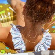 Tissu lycra maillot de bain motif carreaux et étoile de mer - Blanc, vert menthe et orange - 1